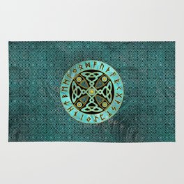 Decorative Celtic Cross  - and Runes alphabet Rug