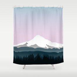 Mount Hood Forest - Pink Haze Shower Curtain