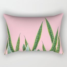 Snake plants with pink Rectangular Pillow