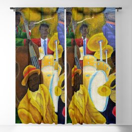African American Masterpiece 'Jazz Band at the Apollo' portrait painting Blackout Curtain