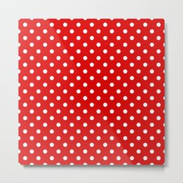 Polkadot - Red White Metal Print