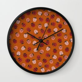 All over Modern Ladybug on burnt orange Background Wall Clock