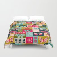 vegetarian Duvet Covers featuring Lepidoptery tiles by Andrea Lauren  by Andrea Lauren Design