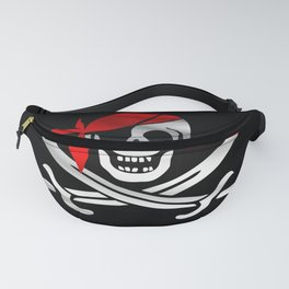 Jolly Roger pirate waving flag with skull and swords with red bandana on a silk drape  Fanny Pack