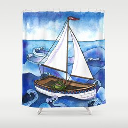 Froggy Goes Sailing Shower Curtain