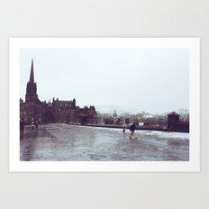 Snowy Day in Edinburgh Art Print