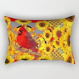 RED CARDINAL BIRD YELLOW SUNFLOWERS  ABSTRACT Rectangular Pillow