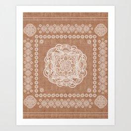 Terracotta boho mandala kilim Art Print