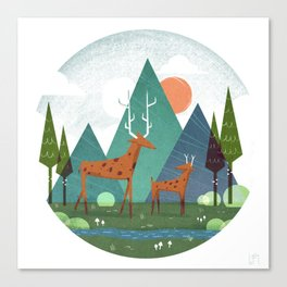 Deer and son Canvas Print