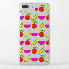 Retro Video Game Fruit Medley Pixel Art Clear iPhone Case