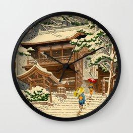 Asano Takeji Snow In Yuki Shrine Vintage Japanese Woodblock Print East Asian Beautiful Art Wall Clock