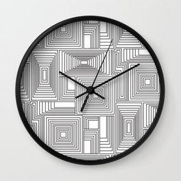 Black and white geometric maze pattern Wall Clock