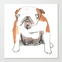 bulldog Canvas Prints featuring Bulldog by jo clark