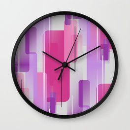 Shapes and Lines Abstract - Purple, Pink, Gray Wall Clock