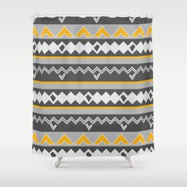 Gray stripes and native shapes Shower Curtain