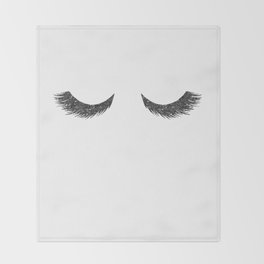 Lashes Black Glitter Mascara Throw Blanket
