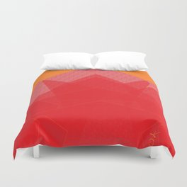 Colorful Red Abstract Mountain Duvet Cover