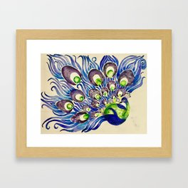 Blueberry Lime Peacock Framed Art Print