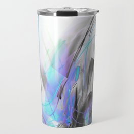 Future Blue Glitch Waves Travel Mug