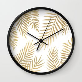 Gold palm leaves Wall Clock