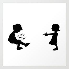 Girl Shoots Boy Art Print