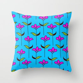 Genevieve - Blue and Pink Throw Pillow