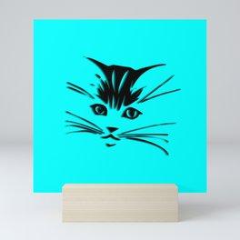 Aqua Kitty Cat Face Mini Art Print