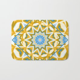Wheel cover kaleidoscope in blue and gold Bath Mat