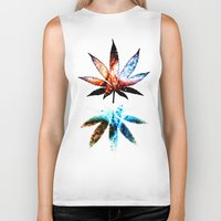 marijuana Biker Tanks featuring Marijuana Leaf - Design 1 by Spooky Dooky