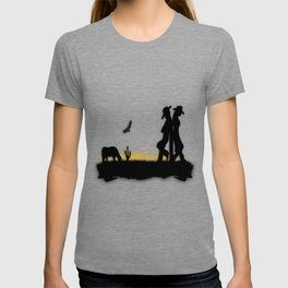 Western Cowboy and Cowgirl on the Range T-shirt