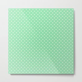 Mini Mint Green with White Polka Dots Metal Print