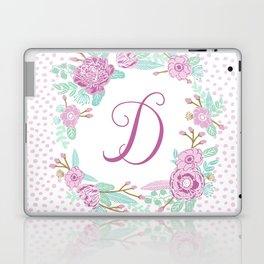 Monogram D - cute girls purple florals flower wreath, lilac florals, baby girl, baby blanket Laptop & iPad Skin