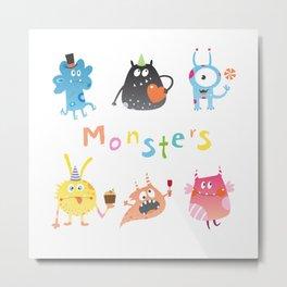 Set with monsters. Metal Print