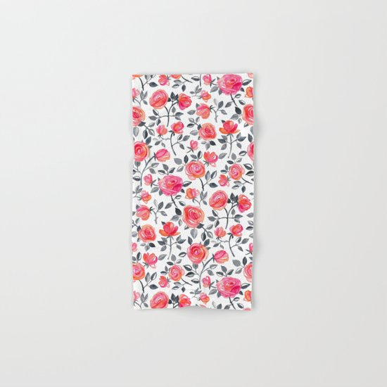 Roses on White - a watercolor floral pattern Hand & Bath Towel