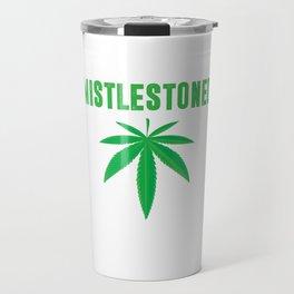 Mistlestoned Stoner Weed Cannabis Leaf T-Shirt Travel Mug