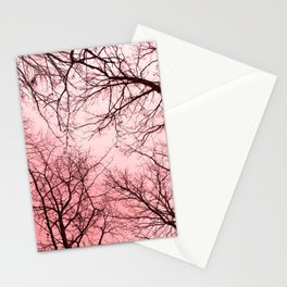 Naked trees tops, pink sky Stationery Cards