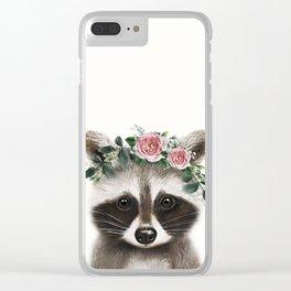 Raccoon Print, Woodlands Nursery Decor, Clear iPhone Case