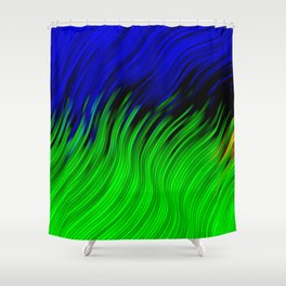 stripes wave pattern 2 with lines vtgi Shower Curtain