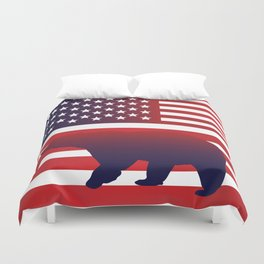 American flag Bear California Duvet Cover