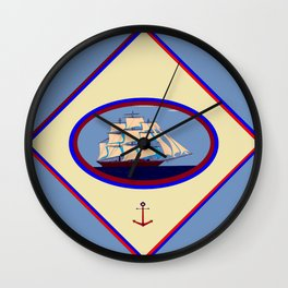 A Nautical Scene with Clipper Ship with Country Blue Background Wall Clock