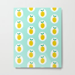 Lemons pastel mint white yellow summer fruit tropical lemonade vacation trendy pattern food print Metal Print
