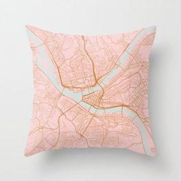 Pittsburgh map, Pennsylvania Throw Pillow