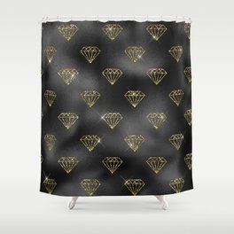 Glam Black and Gold Jewel Pattern Shower Curtain