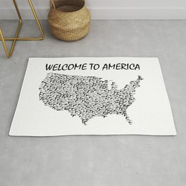 Welcome to America Guns Map Rug