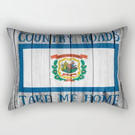 West Virginia State Flag Barn Wall Rustic WV Country Roads Print Rectangular Pillow