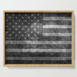 US flag, Old Glory in black & white Serving Tray