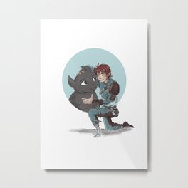Hiccup and Toothless Metal Print