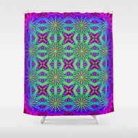 psychedelic Shower Curtains featuring PSYCHEDELIC flowers by 2sweet4words Designs