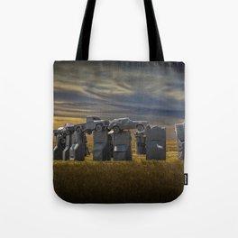 Sunset at Car Henge in Alliance Nebraska Modeled after England's Stonehenge Tote Bag