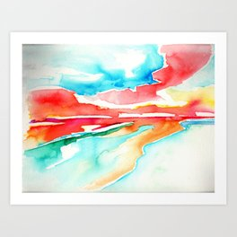 fire in the sky - beach at sunset Art Print